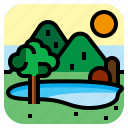 lagoon, lake, landscape, mountain icon