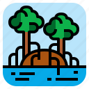 landscape, mangroves, nature, tree icon