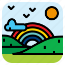 landscape, mountain, nature, rainbow icon