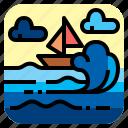 boat, ocean, sea, wave icon