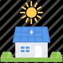battery, ecology, garden, house, nature, solar, sun icon