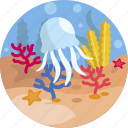 coral, sea, animal, jellyfish, nature, reef, ocean icon
