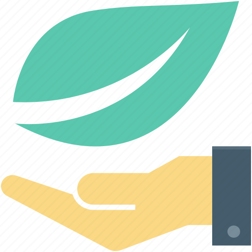 ecology, environment, hand gesture, leaf, plant care icon
