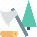 axe, cut, cutting tree, lumber, wood icon