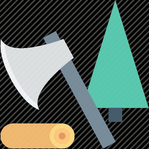 axe, cut, cutting tree, lumber, wood icon