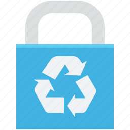 ecology, environmental care, lock, padlock, recycling icon