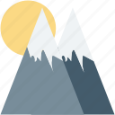 hills, mountains, scenery, snowy mountains, sun icon
