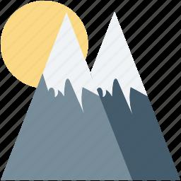 hills, mountains, scenery, snowy mountains, sun icon