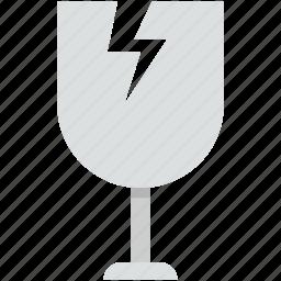 broken glass, cracked glass, fragile glass, fragile symbol, glass icon