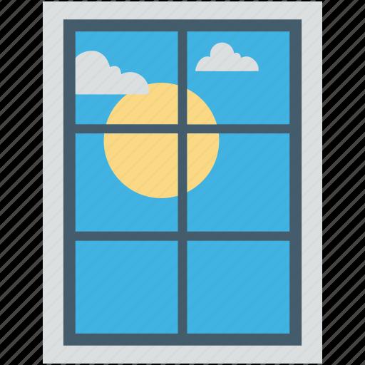 living room, morning view, sun, sunshine, window icon