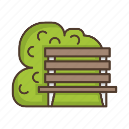 bench, chair, furniture, nature, park, plant, tree icon