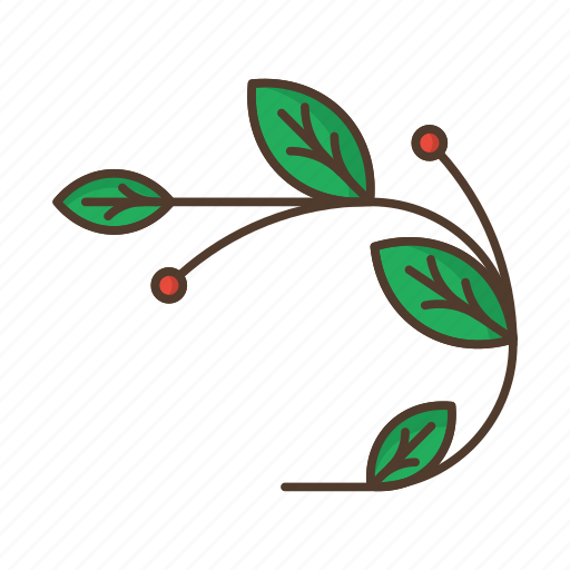 berries, branch, floral, garden, leafage, nature, plant icon