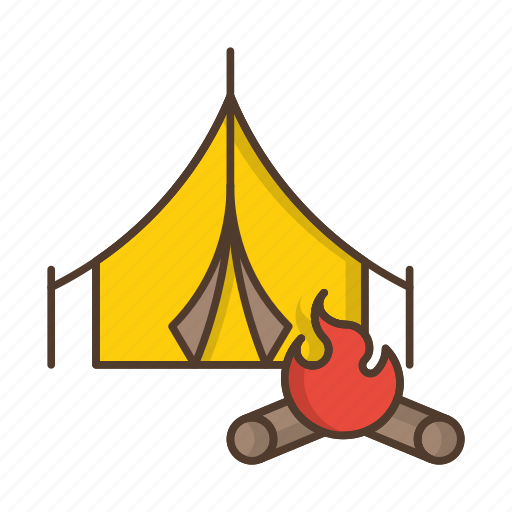 camp, camping, fire, outdoor, tent, travel icon