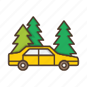 car, forest, nature, plant, roadside icon