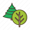 coniferous, deciduous, forest, nature, plant, tree, trees icon