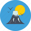 landscape, mountains, nature, scenery, sun icon