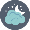 cloud, moon, night, sky, weather icon