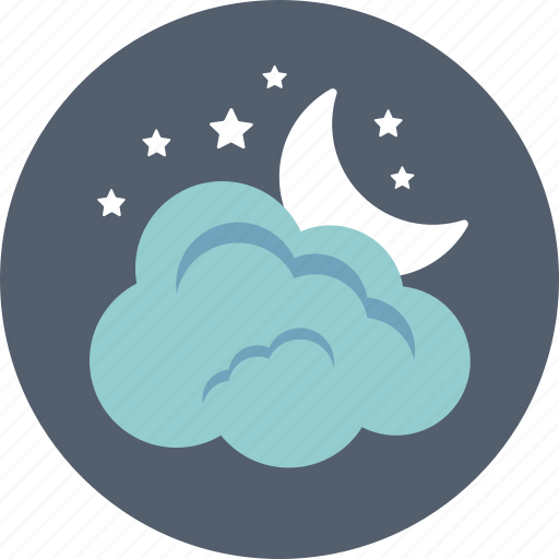 cloud, moon, night, sky, weather icon