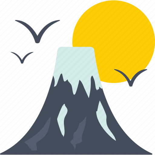 landscape, mountains, nature, scenery, sun icon