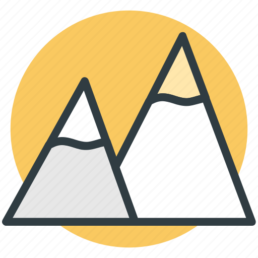 hills, mountains, nature, snowy mountains, triangle shape icon