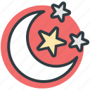 dark, evening, midnight, moon, night, night time, nightfall, stars icon