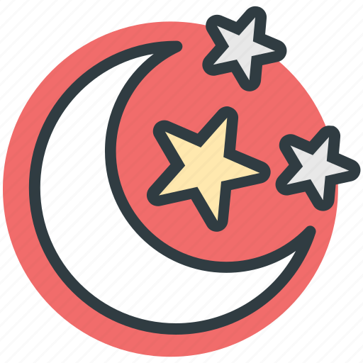 dark, evening, midnight, moon, night, night time, nightfall, stars icon