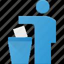 can, delete, litter, person, trash icon