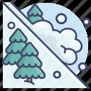 avalanche, disaster, landslide, snowslide icon