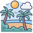beach, coast, landscape, shore icon