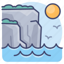 bay, cliff, edge, landscape icon