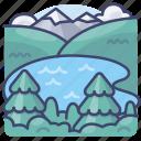 lake, landscape, nature, pond icon
