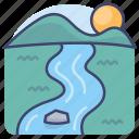 landscape, nature, river, stream icon