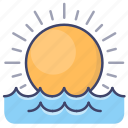 ocean, sea, sun, sunrise icon
