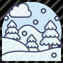 landscape, snow, snowfall, winter icon