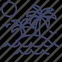 island, palms, travel, vacation icon