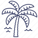 coast, island, palm, tree icon