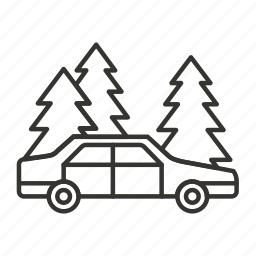 camping, car, forest, nature, parking, tree, vehicle icon