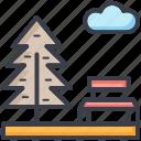 bench, cloud, park, sky, tree