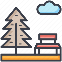 bench, cloud, park, sky, tree icon