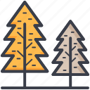 evergreen trees, fir trees, jungle, larch trees, pine trees icon