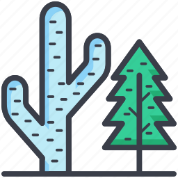 cactus, desert plant, fir tree, forest, nature icon