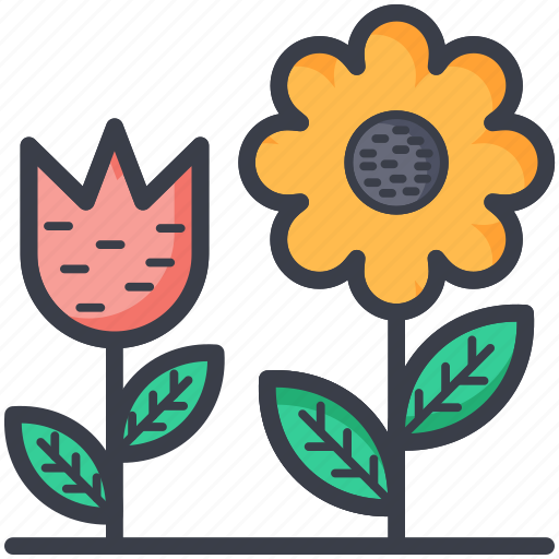 daisy, flowering plants, plants, spring, tulip icon