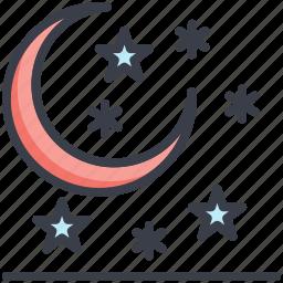 moon, night, snow falling, stars, winter icon