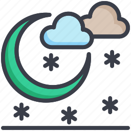 clouds, moon, nature, nighttime, snowfall icon
