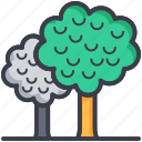 ecology, nature, shrubbery, trees, two trees icon