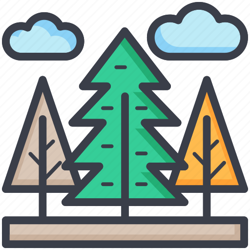 clouds, greenery, landscape, nature, trees icon