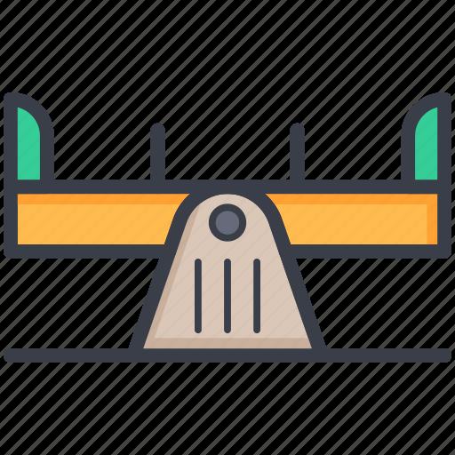 balance swing, lever, seesaw, teeter-totter, teeterboard icon