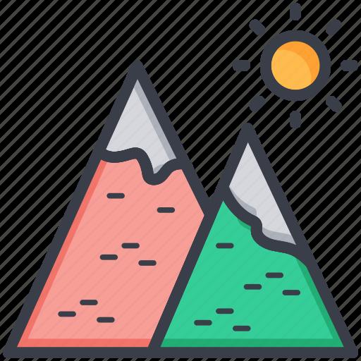 environment, mountains, nature, sky, sun icon