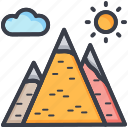 cloud, mountains, nature, sky, sun icon