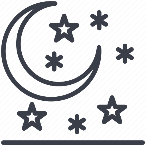 moon, night, snow falling, stars, winter icon